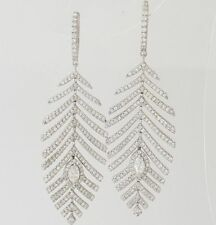 2.30Ct 14K White Gold Over Marquise & Round Diamond Dangle Feather Leaf Earrings
