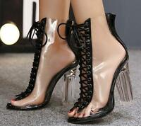 Womens Peep Toe Lace Up Clear Transparent Ankle Boots Sandals Block Heels Shoes