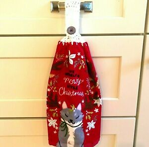 Kitty Cat Christmas Hanging Kitchen Towel Hand Made Crochet Top Meowy Christmas
