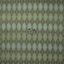 BonEful Fabric Cotton Quilt VTG Green Tone Tonal Argyle Stripe Golf Stripe SCRAP