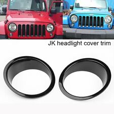 2Pcs Black ABS Front Light Headlight Cover Trim Fits Jeep Wrangler JK 2007-2018