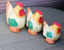 SET OF 3 WOODEN CHICKENS