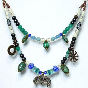 2 tlg. Wikingerkette Fibelkette mit Lunula Bronze Knochenperlen Wickelperle Glas