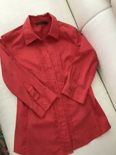 DAVID LAWRENCE WOMENS SHIRT BLOUSE RED STRETCHY TAILORED 3/4 Slv SZ 6