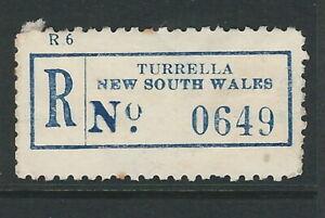 Registration Labels Australia NSW Turrella  #0649 PO closed 1970