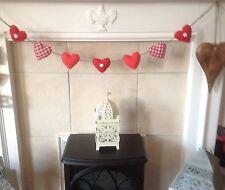 Handmade tissu shabby chic loveheart garland bunting