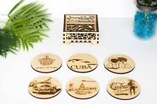 Set of 6 Wooden Coasters With Tray- Cuba Themed