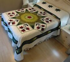 NEW! AMISH HANDMADE QUILT! ~ Improved Lone Star ~ with Applique ~ 106 x 117
