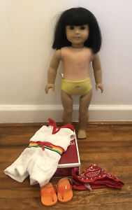 """American Girl Ivy Ling 18"""" Historical Doll W/ New Rainbow Romper Outfit CT"""