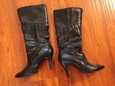 DIBA Leather Mid Calf Black high heel Boots women's size 7