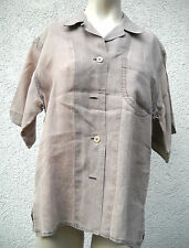 Leinene Kurzarm Damenblusen, - tops & -shirts ohne Muster für Business-Anlässe