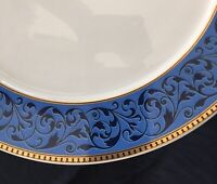 """(2) ROSENTHAL EPOQUE 13"""" Continental Platter Chop Plate BLUE GOLD Scroll GERMANY"""
