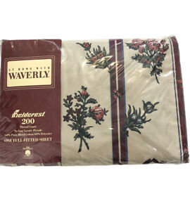 Vintage Waverly Fieldcrest Floral Striped Burgundy Full Fitted Sheet No Iron NEW