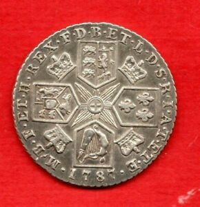 1787 GEORGE III, STERLING SILVER SHILLING COIN. HEARTS IN HANOVARIAN SHIELD.