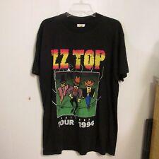 Vtg Zz Top Concert T Shirt Antenna World Tour Rock Black L Usa Cotton