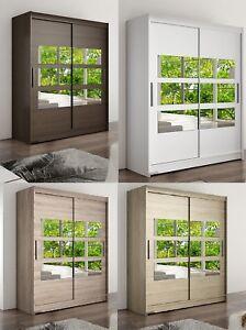 "Modern Bedroom Wardrobe ""WENDY 7"" Mirror Sliding Doors Hanging Rail Shelves 150"