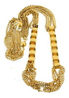 Vintage Victorian Revival Book Link & 3 Strands Curb Chain Gold Tone Necklace 15