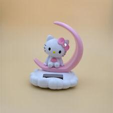 Hello Kitty Moon Vehicle Decor Solar Energy Bobble Head Figure Doll Pink