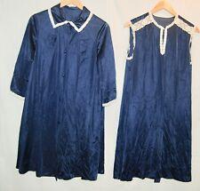 Vintage 2 Pc Nightgown Robe Navy Blue White Lace Trim Sleeveless Gown Nylon L