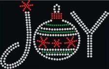 Rhinestone Iron On Transfer Joy Ornament Christmas in Rhinestones and Rhinestud