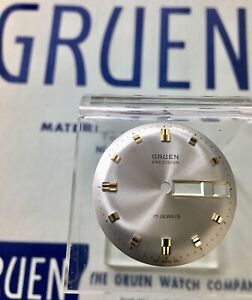 Old Stock Gruen 512 SS CD day/date gold markers 29.5.mm dial to calendar watch