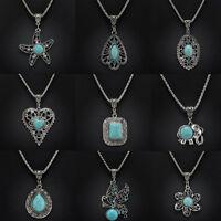 Tibetan Silver Turquoise Bib Crystal Pendant Long Necklace Women Fashion Jewelry
