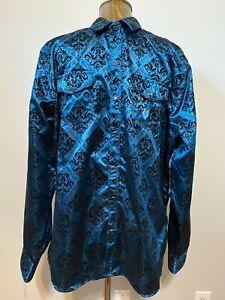 Moy Ferreti Velvet Embossed Button-up Long Sleeve Shirt XL   Western Club Wear