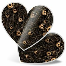 2 x Heart Stickers 15 cm - Gold Peacock Feathers Bird  #2522