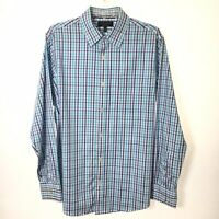 Banana Republic Slim Fit Mens L Blue/White Check Long Sleeve Button Shirt