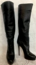 "Casadei Tall Boots Black Soft Leather Platform 6"" Heel New Size 8"