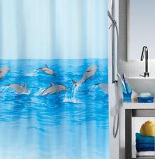 Spirella DOLPHIN Fish TEXTILE BATHROOM Sea Shower Curtain 180x180cm Weighted Hem