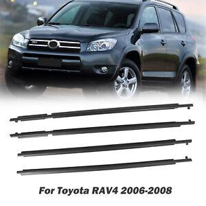 4Pcs Car Outer Window Weatherstrip Glass Seal Kit For Toyota RAV4 2006-2008