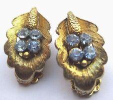 Anciennes boucles d'oreilles clips bijou vintage or cristaux aigue marine 2011