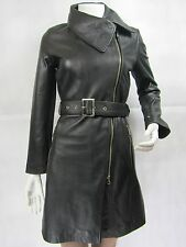 Ladies Black Napa Leather Slim Tight Fitted Long Biker Fashions Jacket Bike
