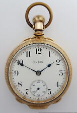 Mens Open Face Running Pocket Watch Antique Elgin Lg Box Case 18s 17J