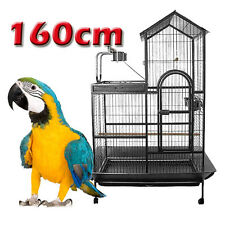 Large 2 Storey Parrot Aviary Bird Cage Perch Roof Budgie On Wheels 160cm A17