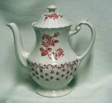 "J & G MEAKIN ""CHANTILLY"" Red & White Rose Coffee Tea Pot - English Ironstone"