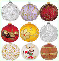 6 Glass Christmas Baubles  Handmade & Painted Balls Ball Tree Decorations Set 4