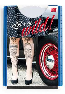 """Stabile Motiv Parkscheibe Petticoat Tattoo """"Let's go wild"""" Eiskratzer Gummilippe"""