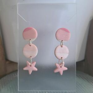 Polymer Clay Earrings 2 Small Circles & Star - Baby Pink