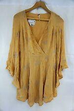 NWT Macys Free People Womens Yellow Combo Jasmine Embroidered Dress 4 CA17062