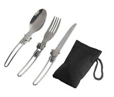 Make Fork Spoon+Bag Steel Stainless Portable Camping Picnic Folding Cutlery
