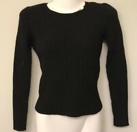 Banana Republic Womens XS Cable Sweater Black 100% Merino Wool V18