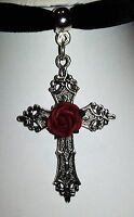 Gothic Pagan Velvet Black Choker necklace pendant  Ornate Silver cross Red rose