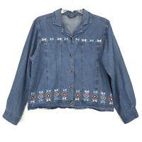 Agapo Vtg Embroidered Denim Jean Jacket Sz XL Southwestern Aztec Blue Wash