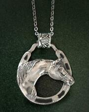 ARABIAN Horse Large Horseshoe Pewter Pendant Necklace - Perfect Equestrian Gift