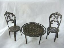 VINTAGE MINIATURE DOLLS HOUSE  METAL  ROUND TABLE & TWO CHAIRS -  CHAIR 2 1/2""