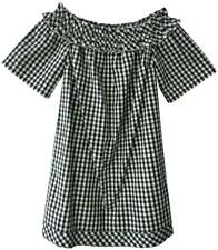 Vineyard Vines Black Cream Gingham Off Shoulder Casual Dress Small 2 4 6 New NWT