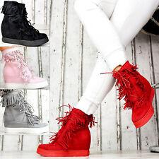 Neu Damenschuhe mit Fransen Trendy Keilabsatz Party Sneaker Freizeitschuhe