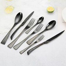 Black Cutlery Set Dinnerware Tableware Flatware Silverware Dessert Fork Spoon